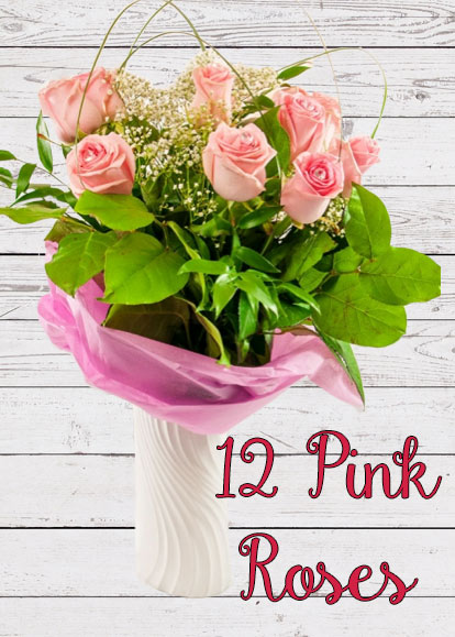 12 Pink Roses Mother's Day