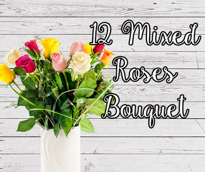 12 Mixed Roses Bouquet