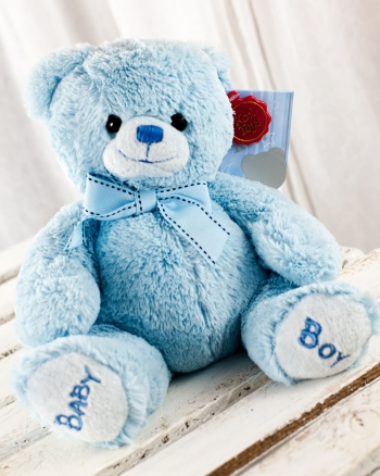 Vikiflowers online flower delivery Keel Toys 'Baby Boy' 22cm Bear